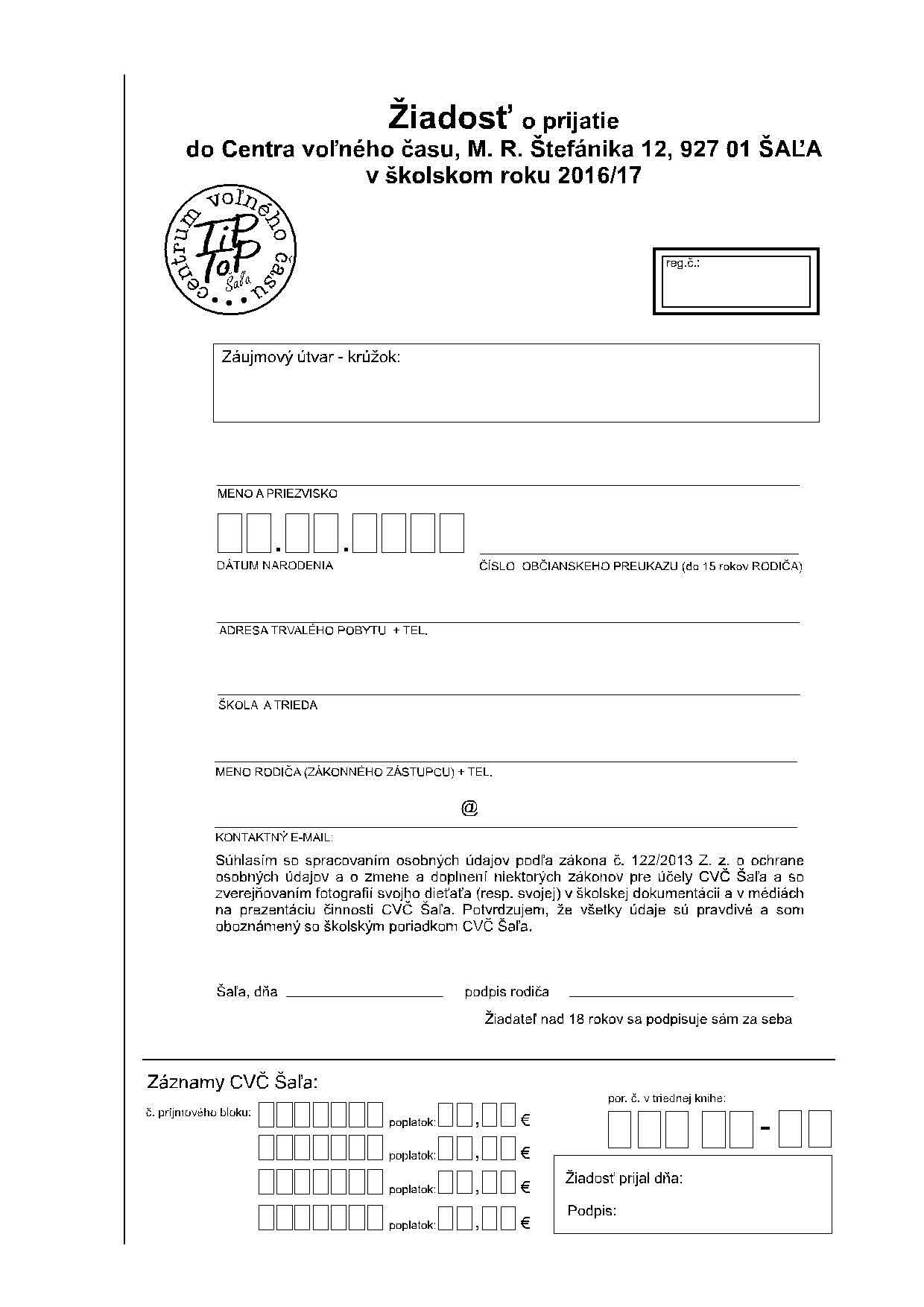 Žiadosť o prijatie do Centra voľného času 1fa419c3272